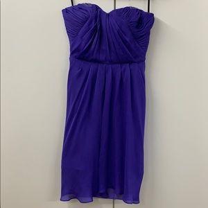 BEBE purple strapless dress